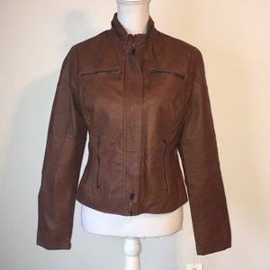 Maralyn & Me brown faux leather jacket, sz M, NWT